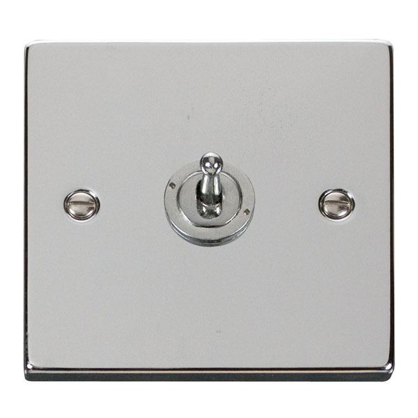 1 Gang 2 Way 10AX  Toggle Switch - Polished Chrome