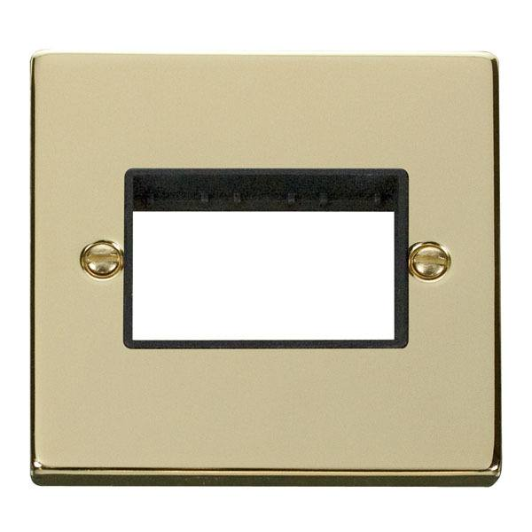 1 Gang Switch Plate Triple Aperture (MiniGrid)-Polished Brass White