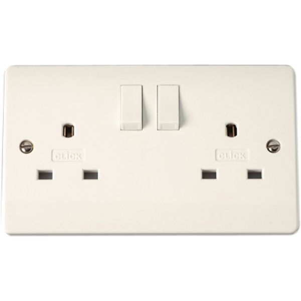 13A 2 Gang Switched Non-Standard Socket