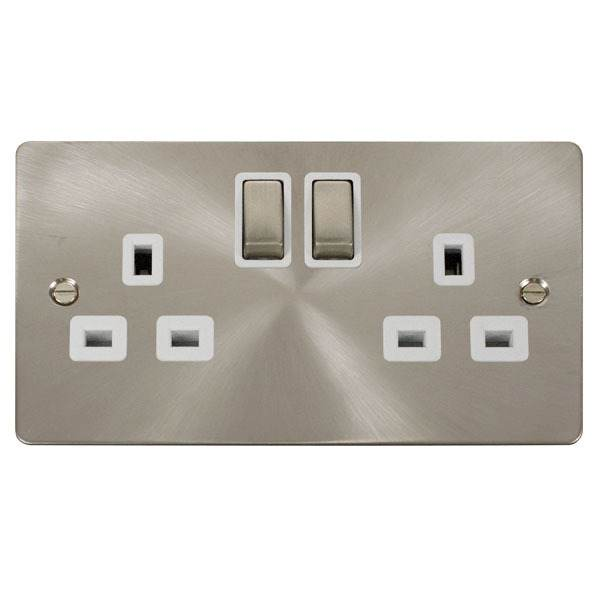 Click FPBS536WH Ingot 2-Gang 13A DP Switched Socket