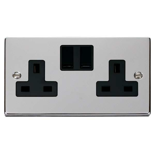 Click VPCH036BK 2 Gang 13A DP Switched Socket Outlet