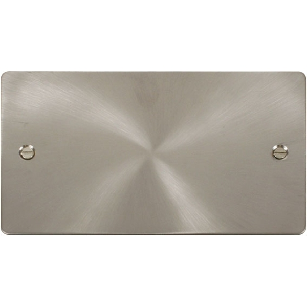 2 Gang Blank Plate - Brushed Stainless Steel