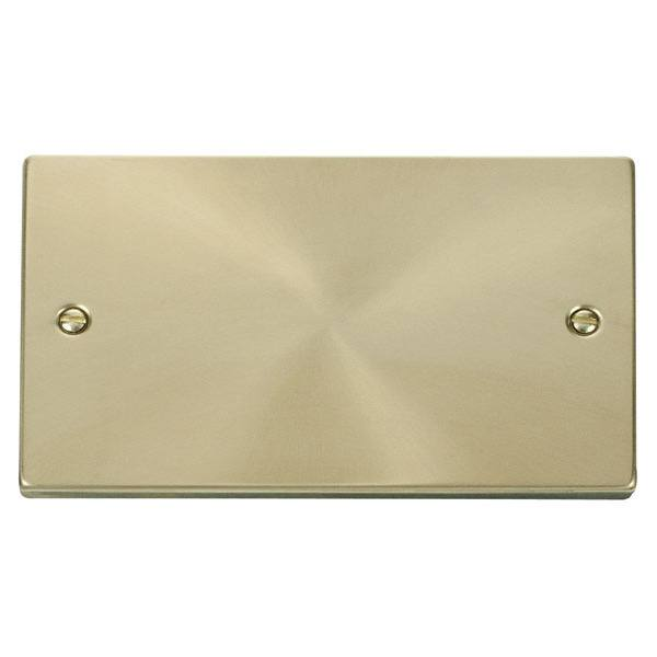 2 Gang Blank Plate-Satin Brass
