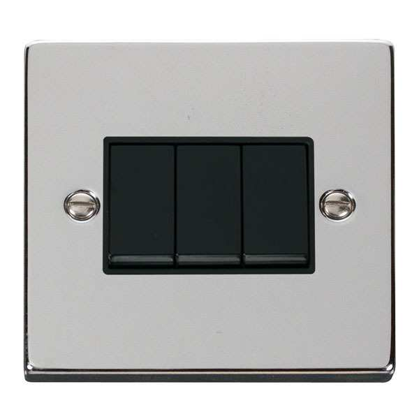 Click VPCH013BK 3 Gang 2 Way 10AX Switch