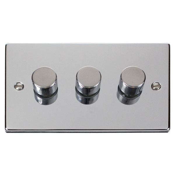 3 Gang 2 Way 400W Dimmer Switch for Tungsten/Halogen - Polished Chrome
