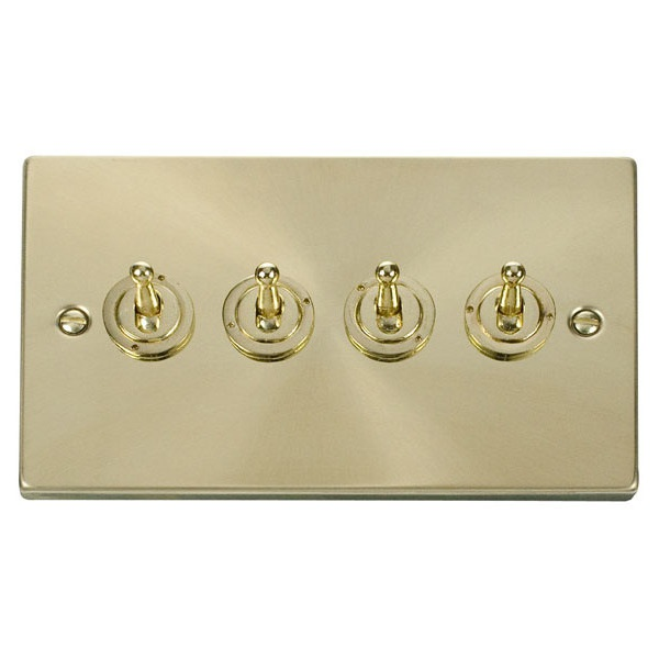 4 Gang 2 Way 10AX  Toggle Switch-Satin Brass