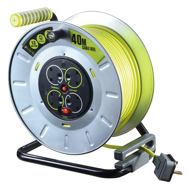 40 metre 13a 4 gang metal cable reel electricbase. Black Bedroom Furniture Sets. Home Design Ideas