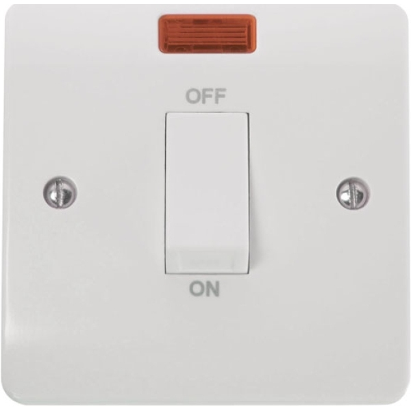 45A 1 Gang Single Cooker Switch with Neon and White Rockers