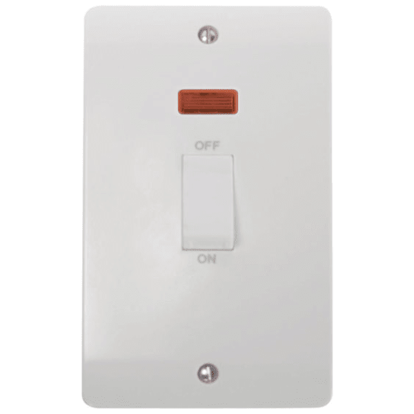 45A 2 Gang Single Cooker Switch with Neon and White Rockers