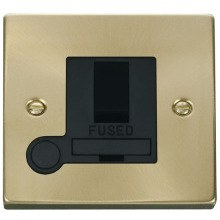 13A Fused Switched Connection Unit with Flex Outlet - Satin Brass Black