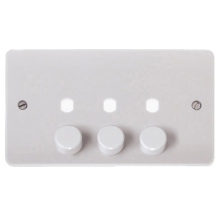 Click CMA147PL 3 Gang Double Dimmer Plate & Knobs