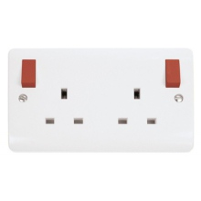 Click CMA836PWRD 13A 2 Gang DP (O/B Red) Switched Socket Outlet