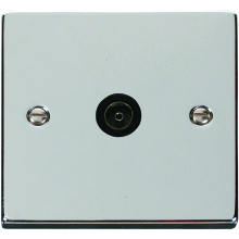 Click Deco Polished Chrome 1G Single TV Coax Outlet