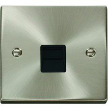 Click Deco Satin Chrome 1G Single Telephone Outlet