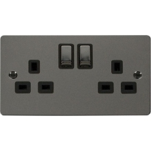 Click FPBN536BK Ingot 2 Gang 13A DP Switched Socket
