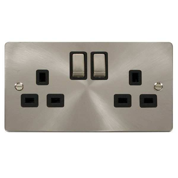 Click FPBS536BK Ingot 2 Gang 13A DP Switched Socket