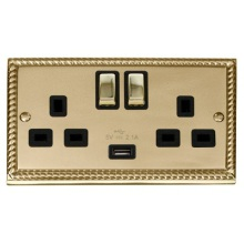 Click GCBR570BK 13A 2 Gang Switched Cast Brass Socket with USB