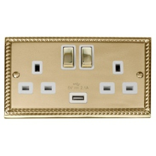 Click GCBR570WH 13A 2 Gang Switched Cast Brass Socket with USB