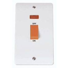 Click CMA203 45A 2 Gang Single Cooker Switch With Neon