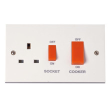 Click PRW204 45A Cooker Switch With 13A DP Switched Socket Outlet