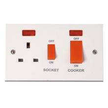 Click PRW205 45A Cooker Switch With 13A DP Switched Socket Outlet And Neons