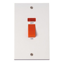 Click PRW203 45A DP Plate Switch With Neon - Double Plate Size
