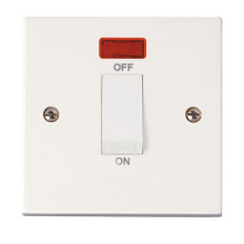 Click PRW501 1 Gang 45A DP Switch + Neon (White Rocker)