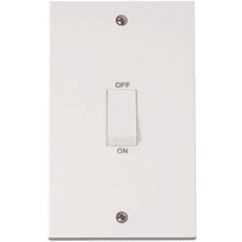 Click PRW502 2 Gang 45A DP Switch  (White Rocker)