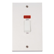 Click PRW503 2 Gang 45A DP Switch + Neon  (White Rocker)