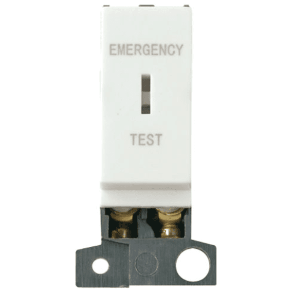 "Click Scolmore MD029WH 13A Resistive DP Keyswitch "" Emergency Test "" White"