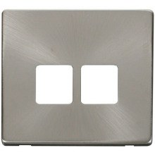 Click SCP121BS Twin Telephone Socket Cover Plate - Brushed Stainless