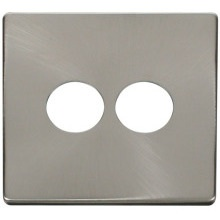 Click SCP222BS 2 Gang Toggle Switch Cover Plate - Brushed Stainless