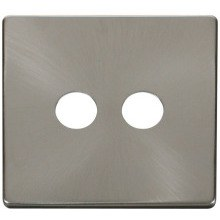 Click SCP232BS Twin Coaxial Socket Cover Plate - Brushed Stainless