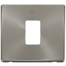Click SCP401BS 1 Gang Single Aperture Cover Plate - Brushed Stainless
