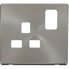 Click SCP435BS 1 Gang 13A Switched Socket Cover Plate - Brushed Stainless