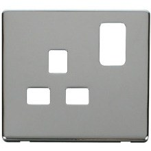 Click SCP435CH 1 Gang 13A Switched Socket Cover Plate - Chrome