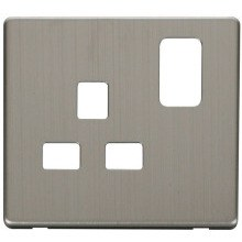Click SCP435SS 1 Gang 13A Switched Socket Cover Plate - Stainless Steel