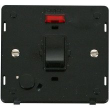Click SIN023BK 20A DP Switch With Flex Outlet & Neon Insert - Black