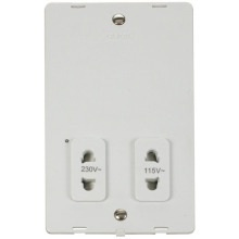 Click SIN100PW 115V/230V Dual Voltage Shaver Socket Outlet Insert - White