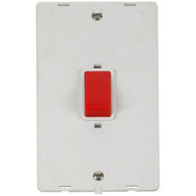 Click SIN202PW 45A 2 Gang Plate DP Switch Insert - White