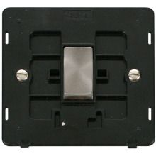 Click SIN411BKBS INGOT 10AX 1 Gang 2 Way Switch Insert - Black / Brushed Stainless