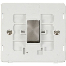 Click SIN411PWBS INGOT 10AX 1 Gang 2 Way Switch Insert - White / Brushed Stainless