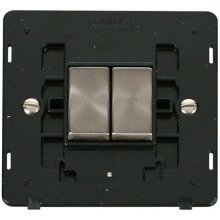 Click SIN412BKBS INGOT 10AX 2 Gang 2 Way Switch Insert - Black / Brushed Stainless