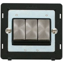 Click SIN413BKBS INGOT 10AX 3 Gang 2 Way Switch Insert - Black / Brushed Stainless