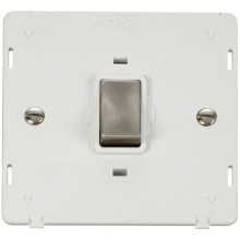 Click SIN722PWBS INGOT 20A 1 Gang DP Switch Insert - White / Brushed Stainless