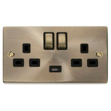 Click VPAB570BK 13A 2 Gang Switched Antique Brass Socket with USB