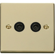 Click VPBR066BK Twin Coaxial Socket Outlet