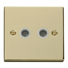 Click VPBR066WH Twin Coaxial Socket Outlet