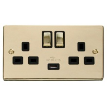 Click VPBR570BK 13A 2 Gang Switched Polished Brass Socket with USB