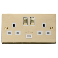 Click VPBR570WH 13A 2 Gang Switched Polished Brass Socket with USB